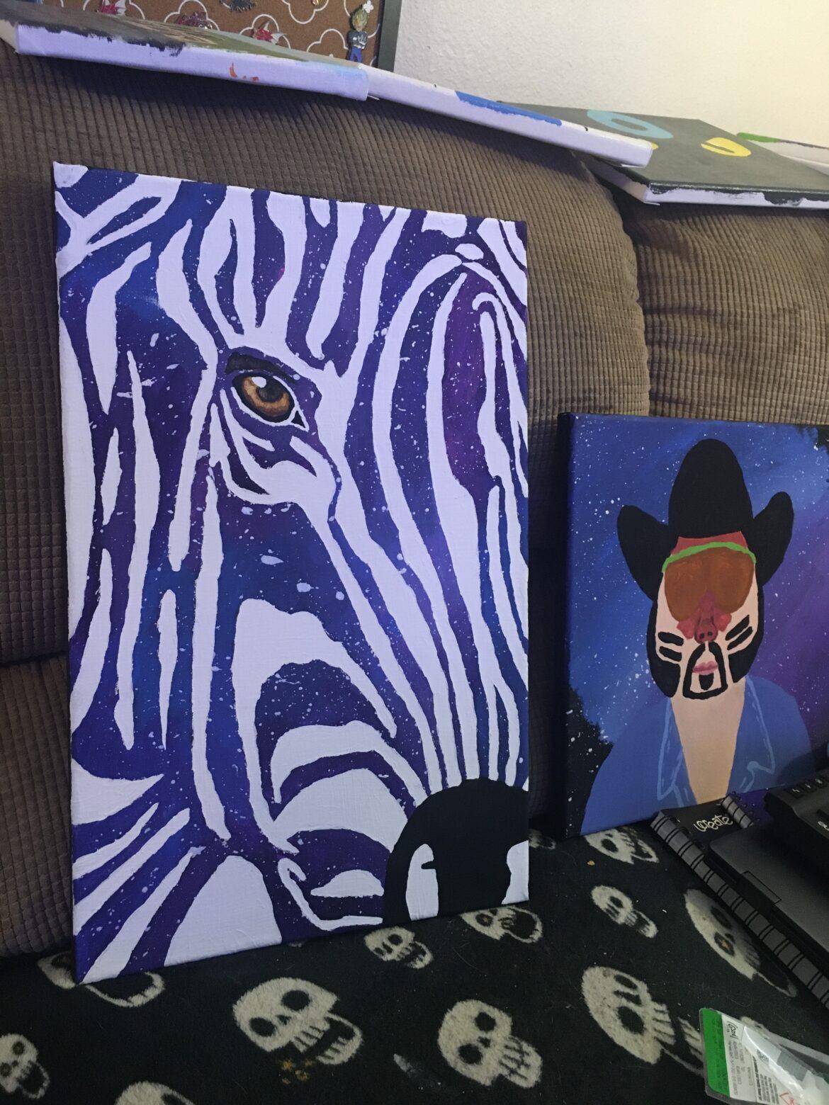 Space Zebra – Painting by Rainbow Llamacorn